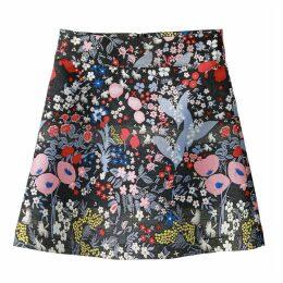 Short Floral Jacquard Skirt