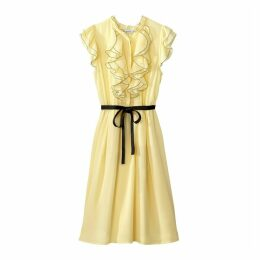 Flared Dress with Small Front Ruffles