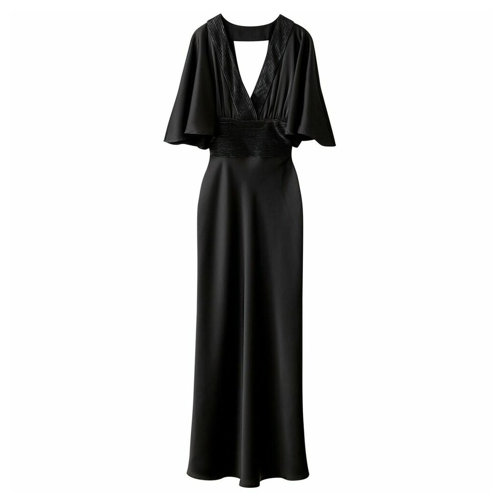 Satin Maxi Dress with Low Neck Front and Back