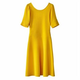 Short-Sleeved A-Line Dress with Scoop Back