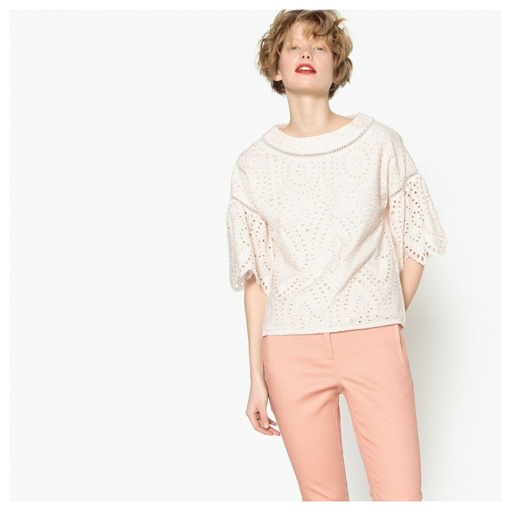 Broderie Anglaise Blouse with 3/4 Length Ruffle Sleeves