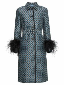 Prada Ostrich Feather Trimmed Wool Blend Coat - Blue