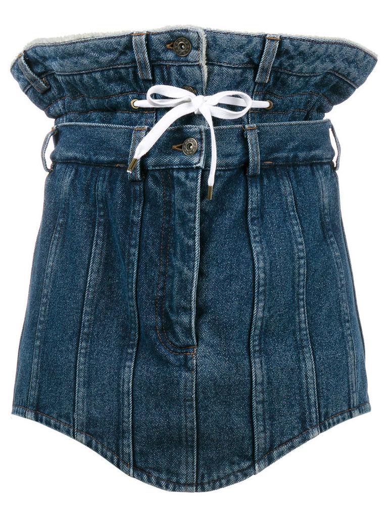 Y / Project double waist denim mini skirt - Blue