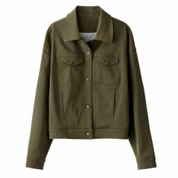 Straight-Cut Buttoned Military-Style Jacket