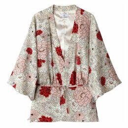 Lightweight Floral Print Belted Kimono Jacket