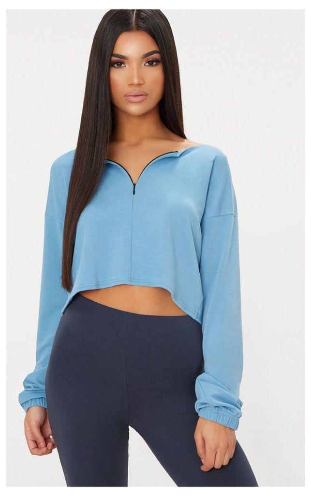 Dusky Blue Zip Front Sweater, Dusky Blue