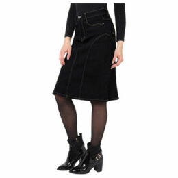 Krisp  Panelled Regular A-Line Denim Skirt [Black ]  women's Skirt in Black