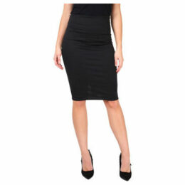 Krisp  Ponte Knee Length Pencil Skirt [Black]  women's Skirt in Black