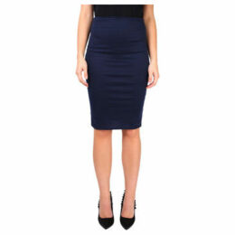 Krisp  Ponte Knee Length Pencil Skirt [Navy]  women's Skirt in Blue