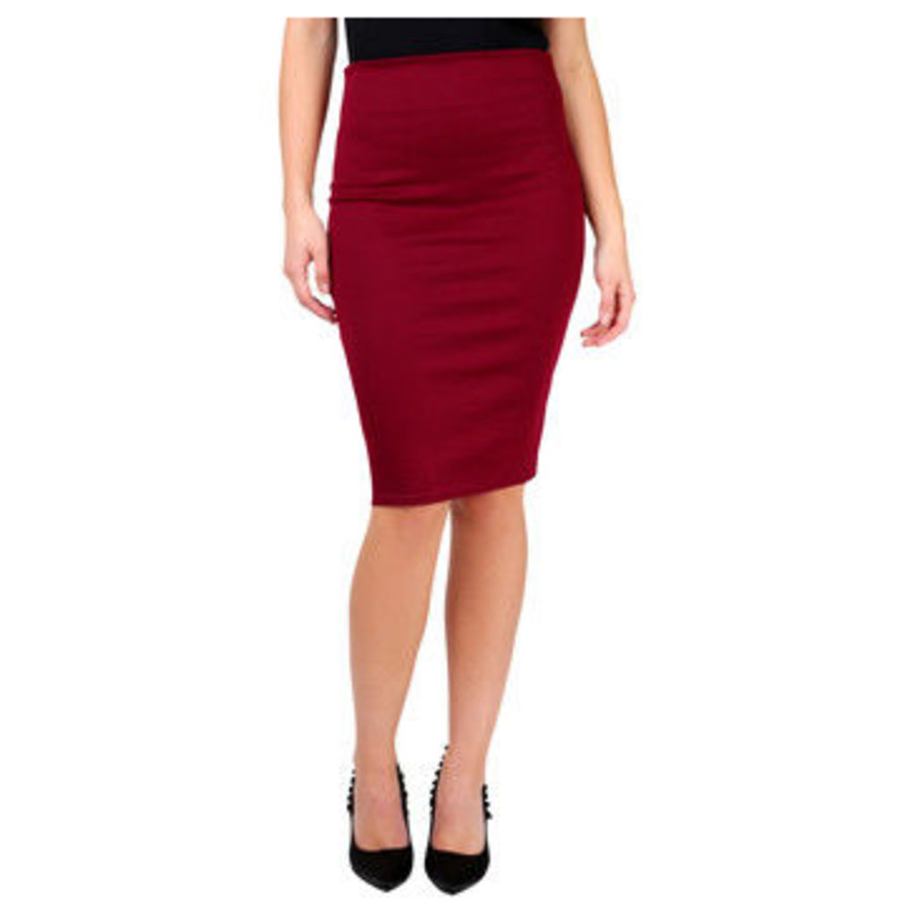 Krisp  Ponte Knee Length Pencil Skirt [Wine]  women's Skirt in Purple