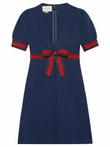 Gucci Jersey V-neck dress with Web - Blue