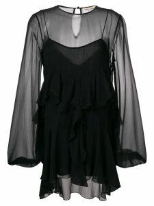 Saint Laurent asymmetric ruffle dress - Black