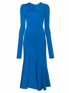 Esteban Cortazar long sleeve fitted full circle dress - Blue