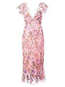 Marchesa Notte floral fitted dress - Pink
