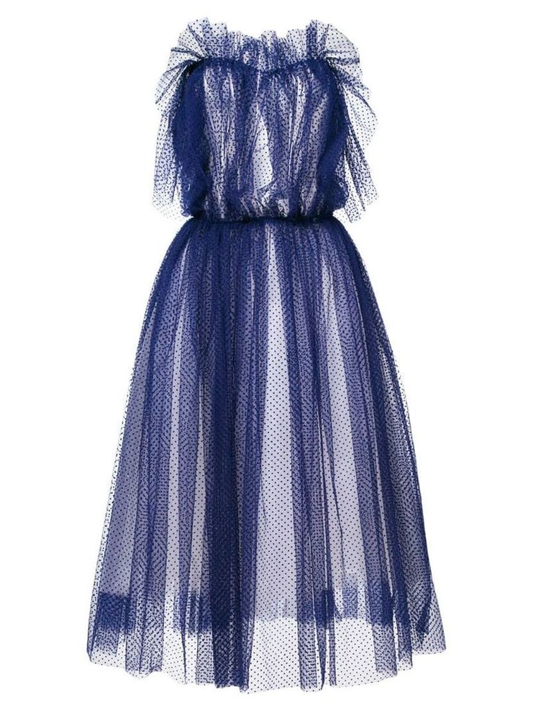 Natasha Zinko point d'esprit strapless maxi dress - Blue