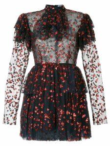 Macgraw heart embellished frill dress - Blue