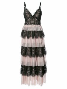 Marchesa Notte ruffle lace dress - Pink