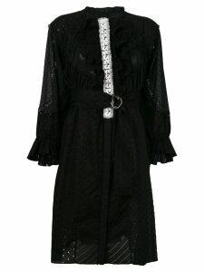Tsumori Chisato crochet stitched ruffle trim dress - Black