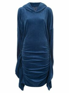 Paula Knorr ruched hooded dress - Blue
