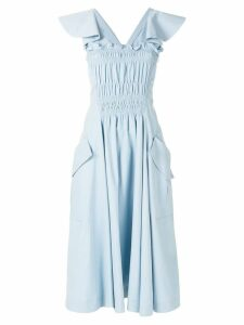 Carven front ruffle midi dress - Blue
