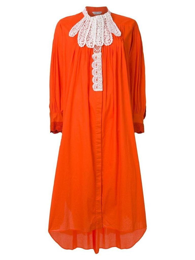 Tsumori Chisato contrast lace trim dress - Orange