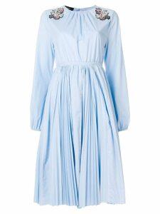 Rochas sequin appliqué pleated dress - Blue