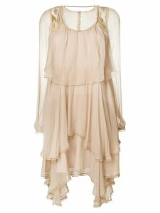 Chloé ruffled chiffon mini dress - Neutrals