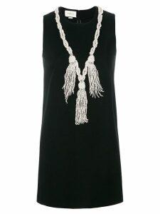 Gucci pearl tassel neckline mini dress - Black