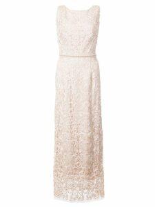 Marchesa Notte beaded sheath dress - Neutrals