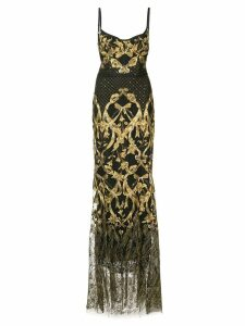 Marchesa Notte embroidered corset gown - Black