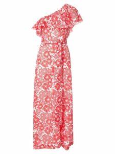 Lisa Marie Fernandez printed one shoulder ruffle dress - Red