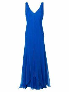 Alberta Ferretti v-neck flared dress - Blue