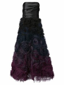 Marchesa Notte rose appliqué gown - Black
