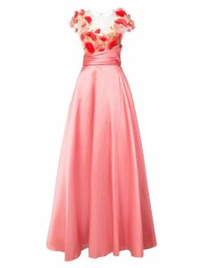 Marchesa Notte 3D flower detail gown - Pink