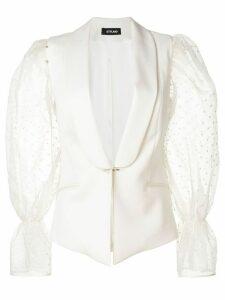 Styland polka-dot sleeved blazer - White