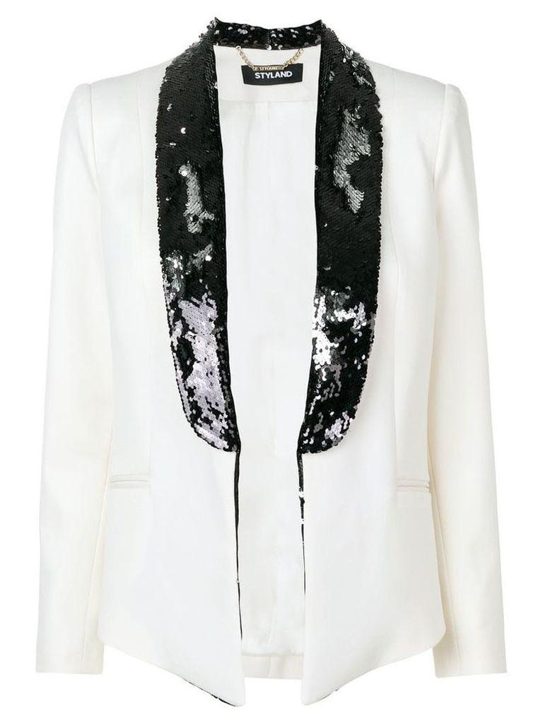 Styland sequin embellished blazer - White