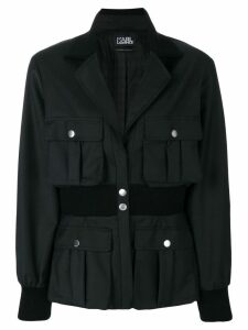 Karl Lagerfeld ribbed waist blazer - Black