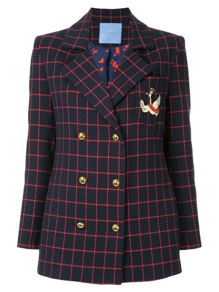 Macgraw checked double breasted blazer - Blue