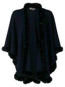 N.Peal fur trimmed cashmere cape - Blue