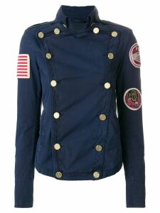 Mr & Mrs Italy patched double-breasted fitted jacket - Blue