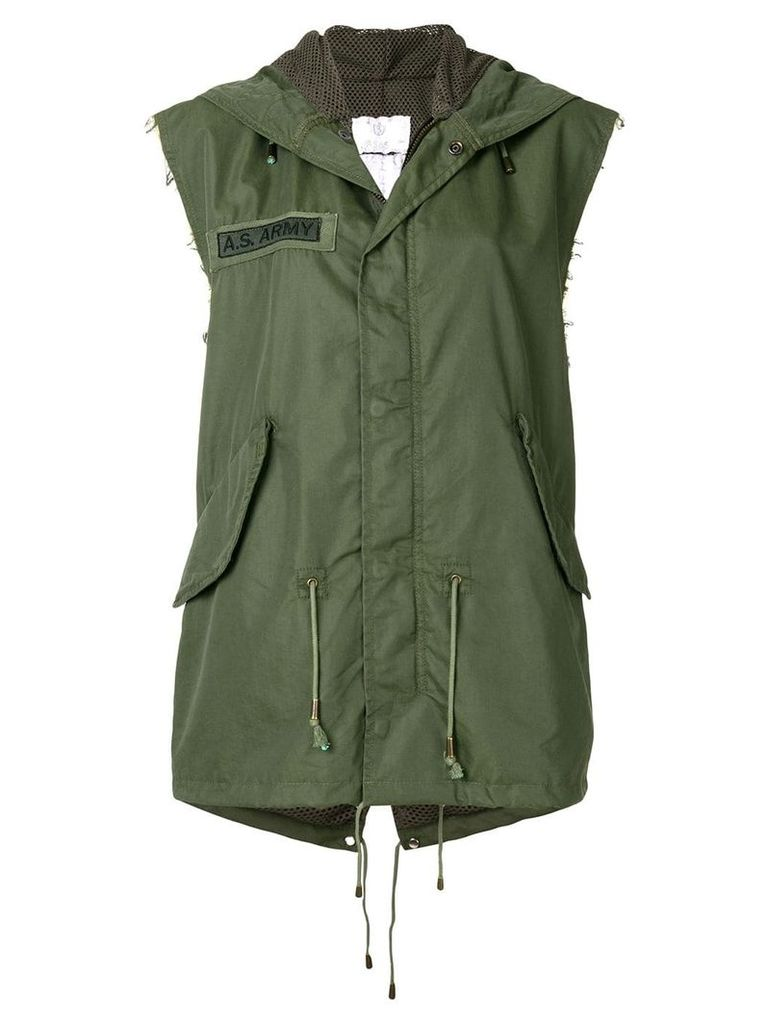 As65 embroidered sleeveless parka - Green