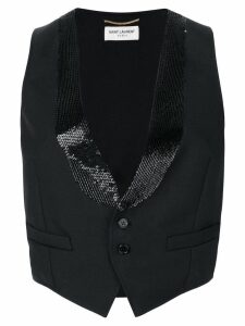 Saint Laurent cropped fitted waistcoat - Black