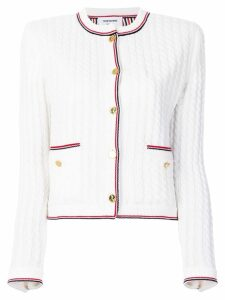 Thom Browne cable knit cardigan jacket - White