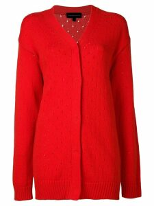Cashmere In Love long perforated cardigan - Red