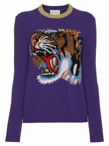 Gucci Wool jumper with knitted tiger motif - Purple