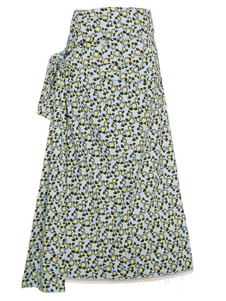 Marni floral print side-tie skirt - Blue