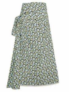 Marni floral print side-tie skirt - Blue