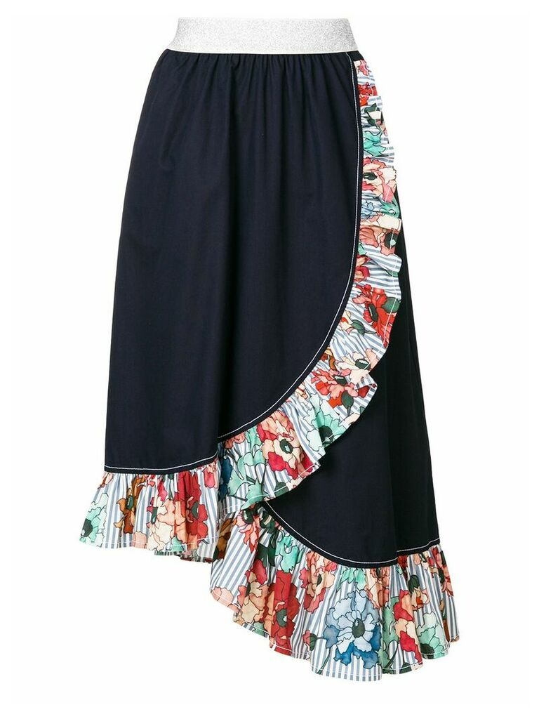 I'M Isola Marras ruffled trim asymmetric skirt - Blue
