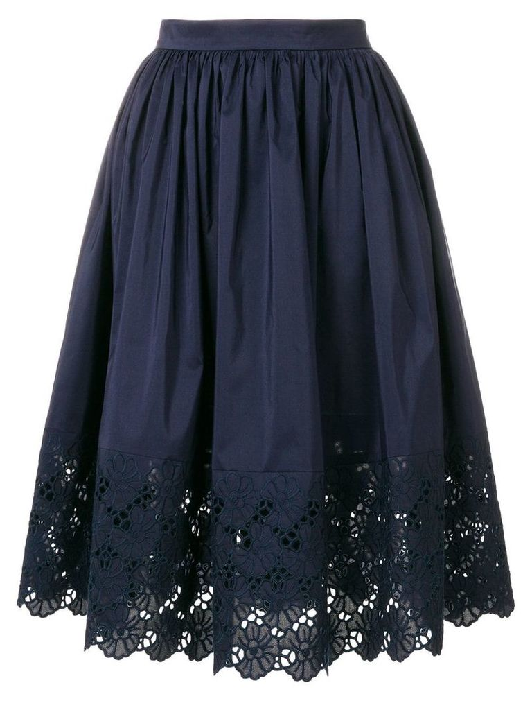 Lanvin embroidered trim skirt - Blue