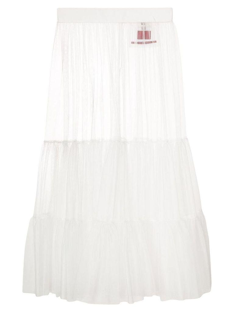 Moncler over-the-knee mesh skirt - White